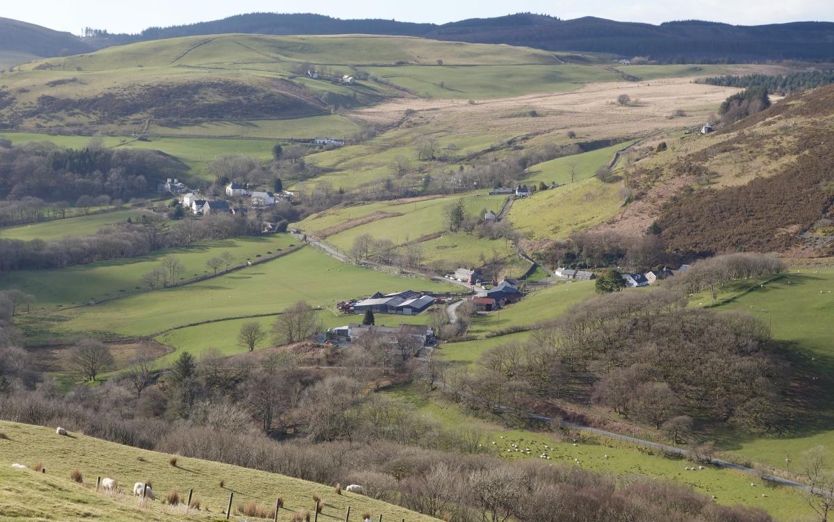 Farm village view Cwmystwyth