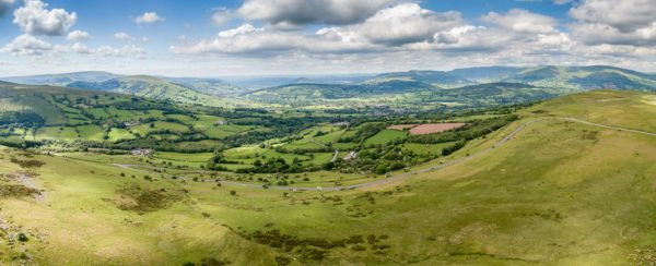 Panoramic aerial view of Mid Wales